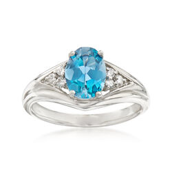 C. 1990 Vintage 1.45 Carat Blue Topaz and .15 ct. t.w. Diamond Ring in 14kt White Gold, , default
