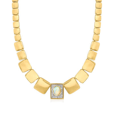 C. 1980 Vintage 14kt Yellow Gold Panel Necklace with Opal and .45 ct. t.w. Diamonds