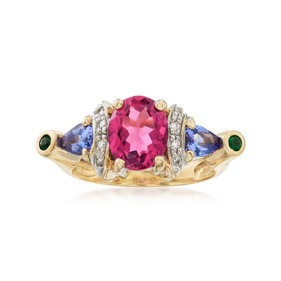 C. 2000 Vintage 1.85 Carat Pink Tourmaline and .46 ct. t.w. Multi-Gem Ring in 14kt Yellow Gold, , default