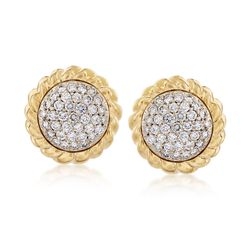 C. 1990 Vintage 2.60 ct. t.w. Pave Diamond Earrings in 18kt Yellow Gold, , default
