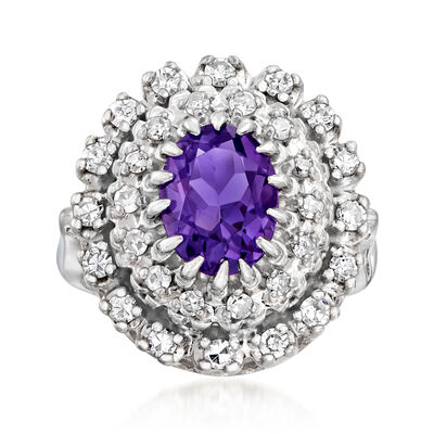 C. 1970 Vintage 1.60 Carat Amethyst and .65 ct. t.w. Diamond Ring in 14kt White Gold