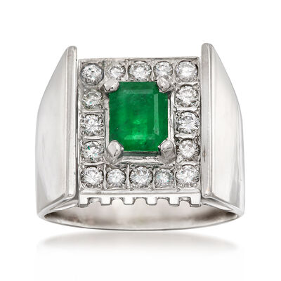 C. 1970 Vintage .85 Carat Emerald and .65 ct. t.w. Diamond Ring in 18kt White Gold, , default