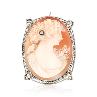 C. 1960 Vintage Pink Shell Cameo Pin Pendant with Diamond Accent in 14kt White Gold, , default