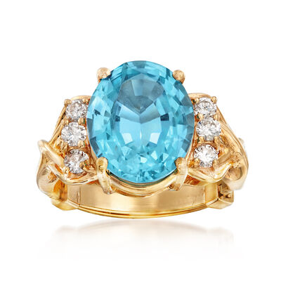 C. 1960 Vintage 5.95 Carat Blue Topaz and .35 ct. t.w. Diamond Ring in 14kt Yellow Gold, , default