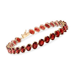 C. 1990 Vintage 29.40 ct. t.w. Garnet Oval Bracelet in 14kt Yellow Gold, , default