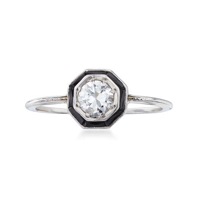 C. 1950 Black Onyx and .50 Carat Diamond Ring in 14kt White Gold with Platinum, , default