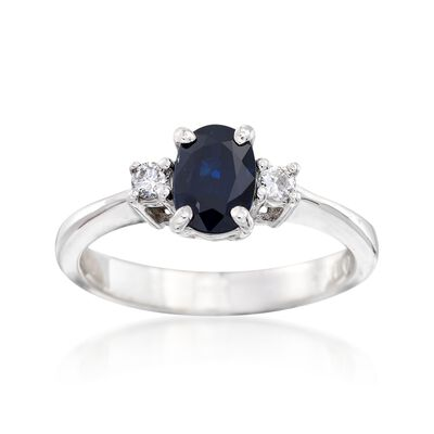 C. 1990 Vintage .95 Carat Sapphire and .10 ct. t.w. Diamond Ring in 14kt White Gold