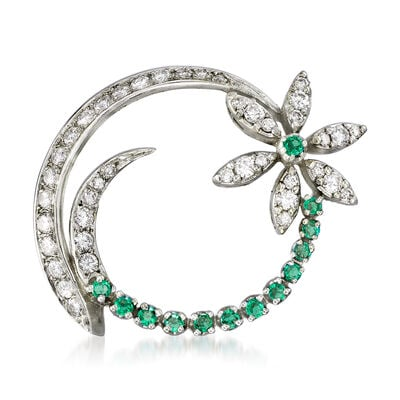 C. 1970 Vintage 1.20 ct. t.w. Diamond and .50 ct. t.w. Emerald Flower Circle Pin in 14kt White Gold, , default