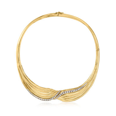 C. 1980 Vintage .75 ct. t.w. Diamond Collar Necklace in 18kt Yellow Gold