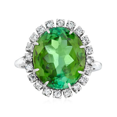 C. 1970 Vintage 7.50 Carat Tourmaline and .50 ct. t.w. Diamond Cocktail Ring in 14kt White Gold