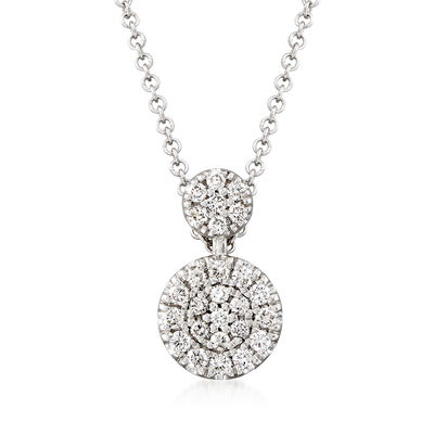 Gabriel Designs .24 ct. t.w. Diamond Double Circle Drop Necklace in 14kt White Gold