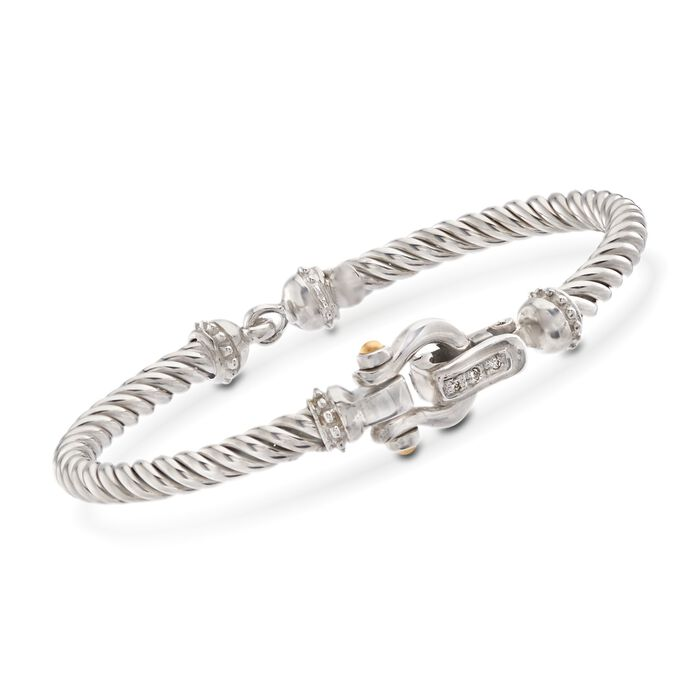 "Phillip Gavriel ""Italian Cable"" Sterling Silver and 18kt Gold Horseshoe Bracelet with Diamond Accents. 7"""