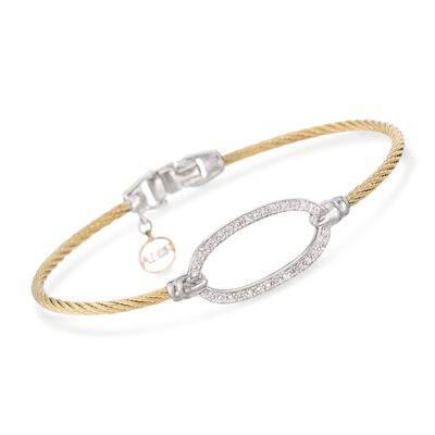 "ALOR ""Classique"" .16 ct. t.w. Diamond Oval Yellow Cable Bracelet With 18kt Two-Tone Gold, , default"