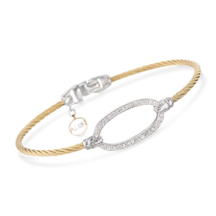 """ALOR .16 Carat Total Weight Diamond Oval Yellow Cable Bracelet With 18-Karat White Gold. 7"""", , default"""