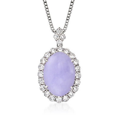 C. 1990 Vintage Lavender Jade and 1.45 ct. t.w. Diamond Pendant Necklace in Platinum