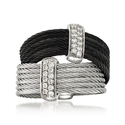 "ALOR ""Noir"" .20 ct. t.w. Diamond Two-Tone Stainless Steel Cable Ring with 18kt White Gold"