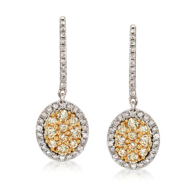 C. 2000 Vintage 1.30 ct. t.w. White and Yellow Diamond Drop Earrings in 14kt Two-Tone Gold