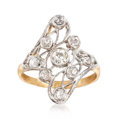C. 1950 Vintage .55 ct. t.w. Diamond Swirl Ring in 14kt Yellow Gold and Platinum, , default
