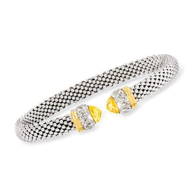 "Phillip Gavriel ""Popcorn"" 2.20 ct. t.w. Citrine Cuff Bracelet in Sterling Silver with 18kt Yellow Gold"
