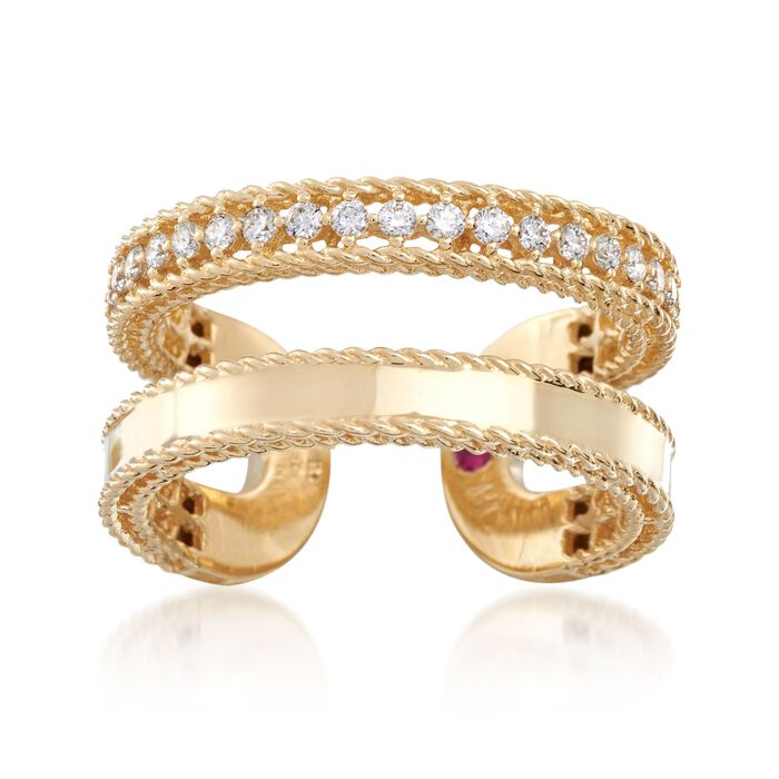 Roberto Coin Symphony Princess .30 Carat Total Weight Diamond Double Cuff Ring in 18-Karat Yellow Gold. Size 7, , default