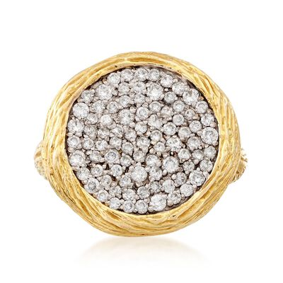 C. 1990 Vintage .90 ct. t.w. Diamond Circle Ring in 14kt Yellow Gold, , default