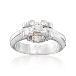 C. 2000 Vintage .33 ct. t.w. Diamond Open-Space Heart Ring in 18kt White Gold, , default