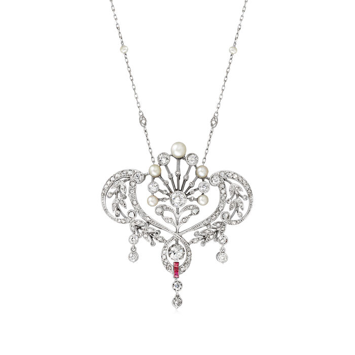 C. 1940 Vintage 2-5mm Cultured Pearl and 3.90 ct. t.w. Diamond Necklace with .12 ct. t.w. Rubies in Platinum