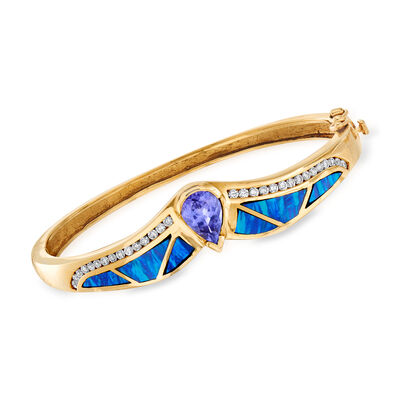 C. 1980 Vintage 1.78 Carat Tanzanite, Multicolored Opal and .75 ct. t.w. Diamond Bangle Bracelet in 14kt Yellow Gold