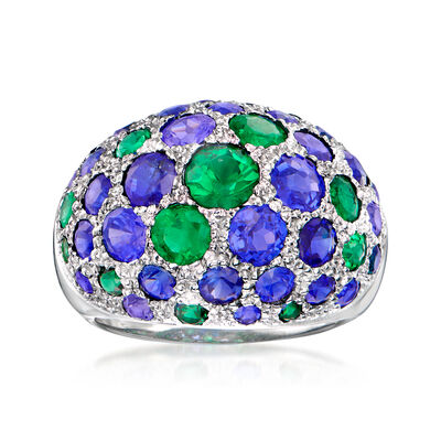 C. 1970 Vintage 1.65 ct. t.w. Sapphire and 1.10 ct. t.w. Emerald Dome Ring in 14kt White Gold