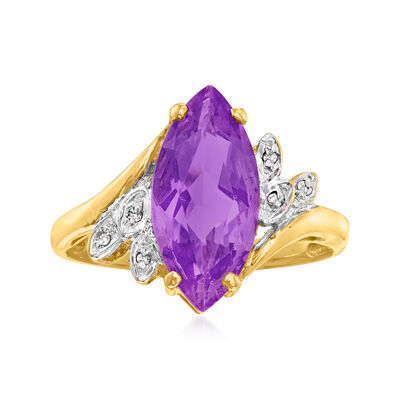 C. 1980 Vintage 2.15 Carat Amethyst Ring with Diamond Accents in 14kt Yellow Gold