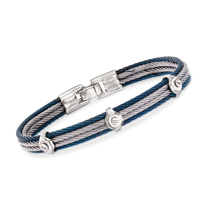 "ALOR Men's Gray and Blue Stainless Steel Cable Station Bracelet. 7.75"", , default"