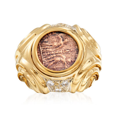 C. 1980 Vintage .30 ct. t.w. Diamond and Copper Greek Coin Ring in 14kt Yellow Gold