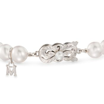 "Mikimoto Everyday 7-7.5mm A+ Akoya and 10mm South Sea Pearl Bracelet with .40 Carat Total Weight Diamonds in 18-Karat White Gold. 7"", , default"