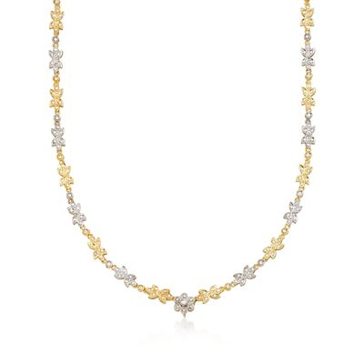 C. 1990 Vintage 1.50 ct. t.w. Diamond Floral Necklace in 18kt Yellow Gold, , default