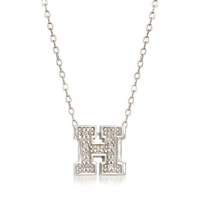 "C. 2000 Vintage Alex Woo University ""H"" Diamond-Accented Necklace in 14kt White Gold, , default"