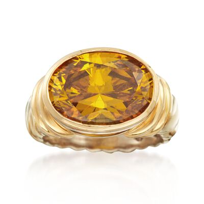 C. 2000 Vintage 8.30 Carat Yellow CZ Ribbed Ring in 14kt Two-Tone Gold, , default
