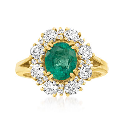 1.70 Carat Emerald and 1.33 ct. t.w. Diamond Halo Ring in 14kt Yellow Gold