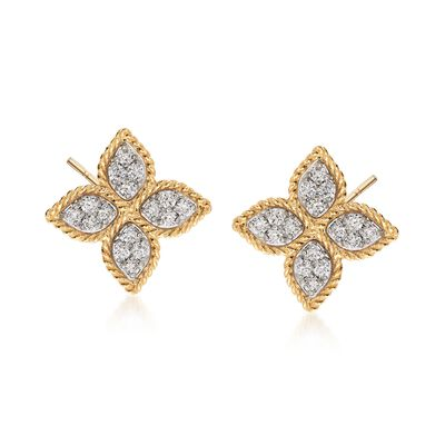 "Roberto Coin ""Princess"" .38 ct. t.w. Diamond Flower Earrings in 18kt Yellow Gold"