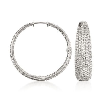 Roberto Coin 3.87 ct. t.w. Diamond Inside-Outside Hoop Earrings in 18kt White Gold