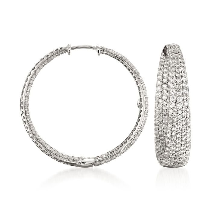 Roberto Coin 3.87 Carat Total Weight In-And-Out Diamond Hoops in 18-Karat White Gold, , default