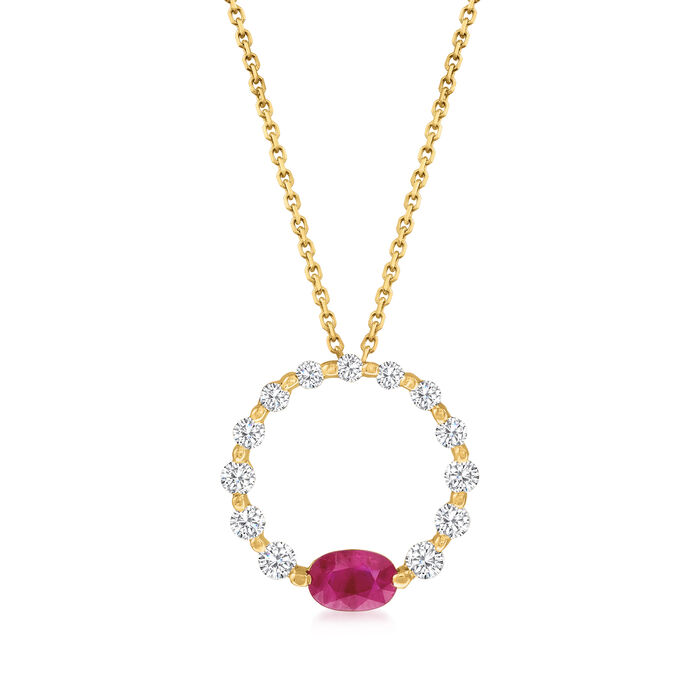 .50 Carat Ruby and .50 ct. t.w. Diamond Circle Pendant Necklace in 14kt Yellow Gold