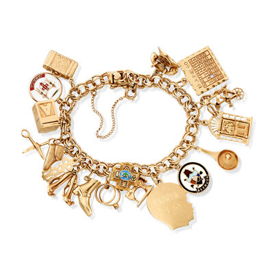 C. 1970 Vintage 14kt Yellow Gold Multi-Charm Bracelet, , default
