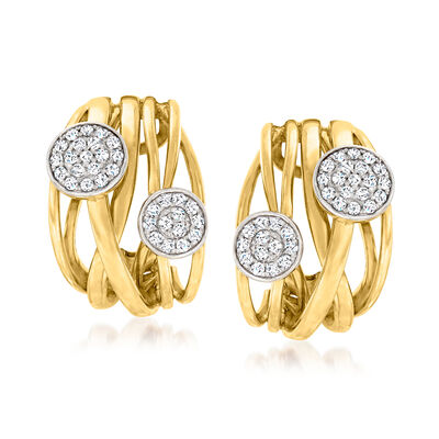 C. 1980 Vintage .60 ct. t.w. Diamond Curved Clip-On Earrings in 14kt Yellow Gold