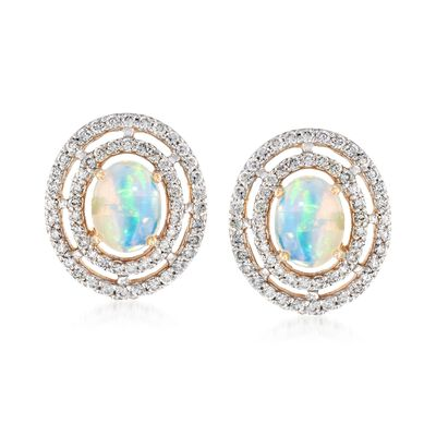Opal and .72 ct. t.w. Diamond Earrings in 14kt Yellow Gold, , default