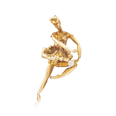 C. 1980 Vintage 3mm Cultured Pearl Ballerina Pin in 14kt Yellow Gold, , default