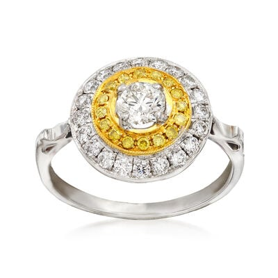 C. 2000 Vintage .83 ct. t.w. Fancy Yellow and White Diamond Circle Ring in 18kt Two-Tone Gold, , default