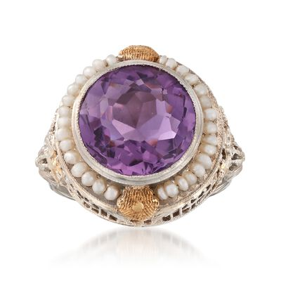 C. 1950 Vintage 3.95 Carat Amethyst and Cultured Seed Pearl Ring in 14kt Two-Tone Gold, , default