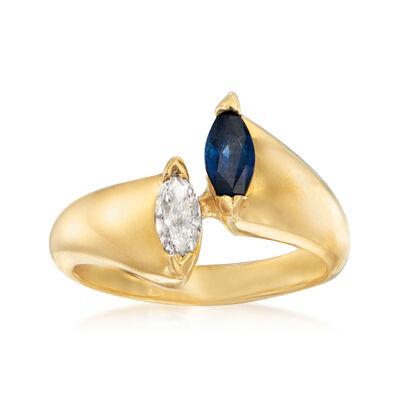 C. 1980 Vintage .30 Carat Sapphire and .20 Carat Diamond Bypass Ring in 18kt Yellow Gold