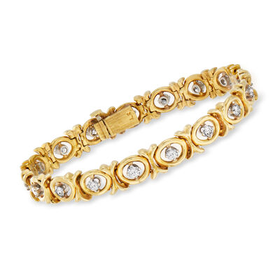 C. 1970 Vintage 2.20 ct. t.w. Diamond X and O Bracelet in 18kt Yellow Gold