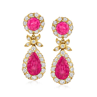 C. 1950 Vintage 4.40 ct. t.w. Pink Tourmaline Drop Earrings with 1.40 ct. t.w. Diamonds in Sterling Silver and 18kt Yellow Gold